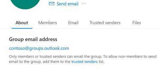 Hinzufügen vertrauenswürdiger Absender zu einer Outlook.com Gruppe.