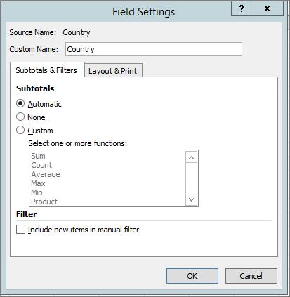 Teilergebnisse & Registerkarte ' Filter ' im Dialogfeld ' Feld Einstellungen '