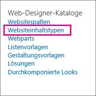 Link 'Websiteinhaltstypen' auf der Seite 'Websiteeinstellungen'