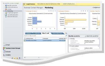 Arbeitsbereich 'Marketing' im Beispielunternehmen mit Navigationsbereich und Banner für Beispielunternehmen