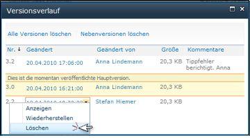 Dialogfeld 'Versionsverlauf' mit ausgewählter Option 'Löschen' für eine Dateiversion