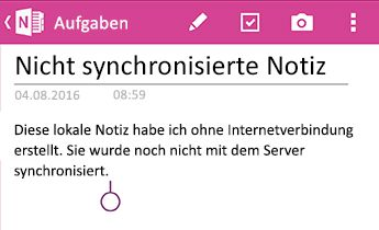 Eine nicht synchronisierte Notiz in OneNote für Android