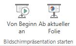 """Beginnen Sie mit der Vorführung Ihrer Präsentation, indem Sie zur Registerkarte """"Ansicht"""" wechseln und eine der Schaltflächen für """"Bildschirmpräsentation starten"""" auswählen."""