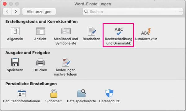 """Klicken Sie auf """"Rechtschreibung und Grammatik"""", um die Einstellungen für die Rechtschreib- und Grammatikprüfung zu ändern."""