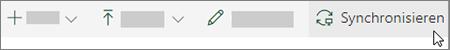 Die SharePoint Online-Symbolleiste mit ausgewählter Option ' Synchronisieren '
