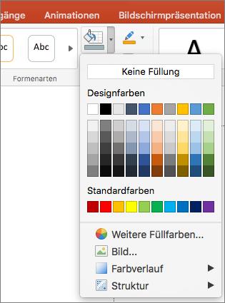 """Der Screenshot zeigt die Optionen im Menü """"Fülleffekt"""", darunter """"Keine Füllung"""", """"Designfarben"""", """"Standardfarben"""", """"Weitere Füllfarben"""", """"Bild"""", """"Farbverlauf"""" und """"Struktur""""."""