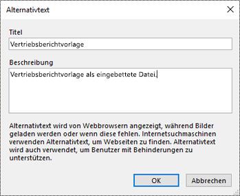 Dialogfeld zum Hinzufügen von Alternativtext zu einem Dateiausdruck