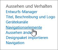 "Navigationselemente im Menü ""Websiteeinstellungen"""