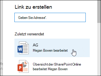 Hinzufügen eines Links zu einem zuletzt verwendeten Element in einer Dokumentbibliothek