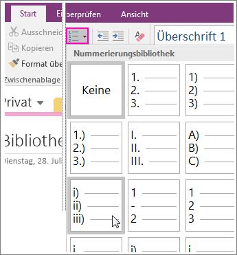 Screenshot: Hinzufügen einer Nummerierung zu einer Seite in OneNote 2016