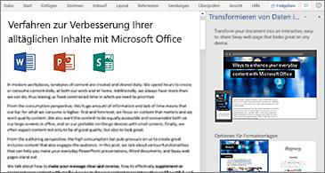"""Dokument auf der linken und Bereich """"In Webseite transformieren"""" auf der rechten Seite"""