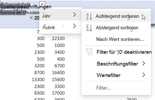 Zeilenbereich mit kombinierten Filtern