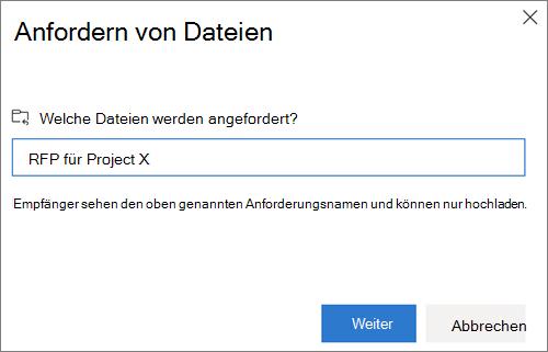 Dialogfeld ' Dateien anfordern ' nach dem Anfordern von Dateien in OneDrive for Business