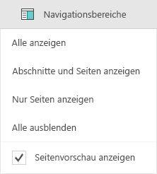 Optionen im Navigationsbereich