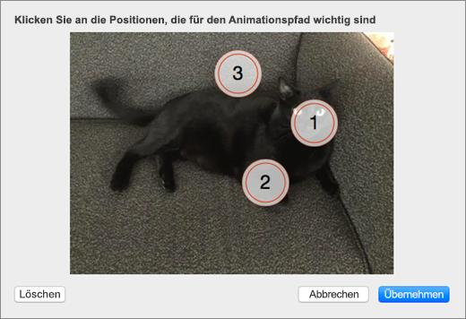 Zeigt ein Foto mit mehreren nummerierten, ausgewählten interessierenden Punkten, die für einen animierten Hintergrund in PowerPoint verwendet werden sollen.