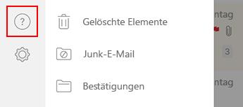Bild des linken Navigationsbereichs in Outlook für iOS.