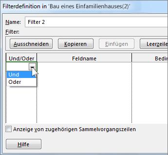 Auswählen von 'Und' oder 'Oder', je nach Typ von Ergebnis, den der Filter liefern soll