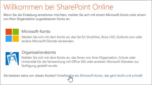 Screenshot des SharePoint Online-Anmeldebildschirms mit dem ausgewählten Link zum Erstellen eines Microsoft-Kontos.