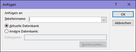 "Screenshot des Dialogfelds ""Anfügeabfrage"""