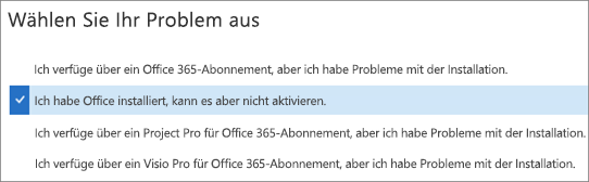 """Zeigt die Option """"Office-Aktivierung"""" im Support- und Wiederherstellungs-Assistenten"""