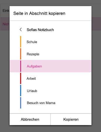 """Menü """"Seite in Abschnitt kopieren"""" in OneNote für Android"""