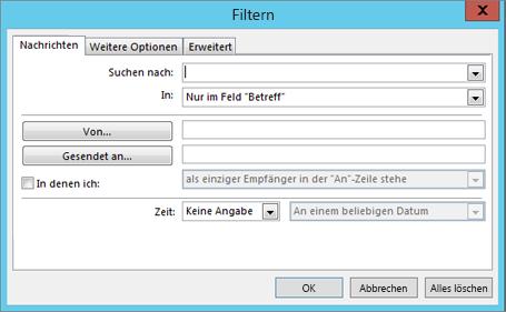 """Wählen Sie """"Filter"""" aus, wenn Sie nur bestimmte E-Mails importieren möchten."""
