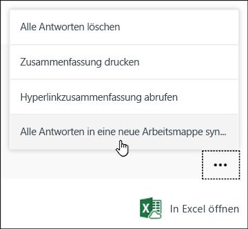 """""""Alle Antworten in einer neuen Arbeitsmappe synchronisieren"""", Option in Microsoft Forms"""