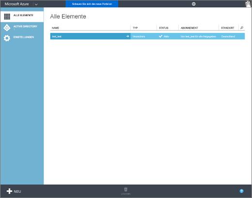 """Screenshot der Seite """"Alle Elemente"""" des Azure-Verwaltungsportals, auf der Informationen zur Organisation angezeigt werden, z. B. Name, Typ, Status, Abonnement und Standort."""