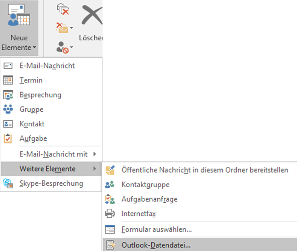 Erstellen einer neuen Outlook-Datendatei