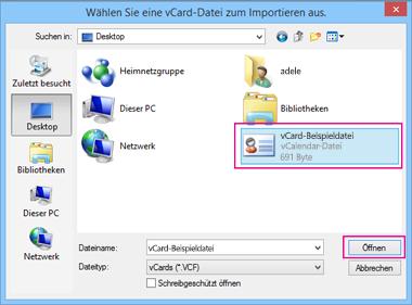 Wählen Sie Ihre vCard-Datei aus, die Sie in CSV importieren möchten.