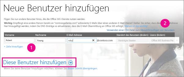 Hinzufügen von Benutzern zu Ihrem Office 365-Mandanten