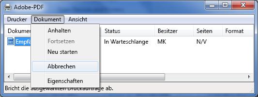 """Klicken Sie im Menü """"Dokument"""" auf """"Abbrechen""""."""