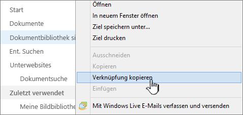 """Mit der rechten Maustaste im Kontextmenü auf """"Bibliothek"""" klicken, dann """"Verknüpfung kopieren"""" auswählen"""