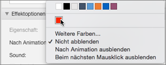 """Optionen für """"Nach Animation"""" im Eigenschaftenbereich """"Animationen"""""""