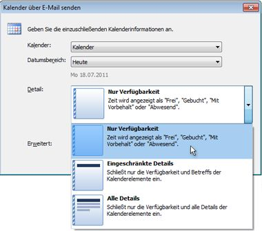 Liste für Details im Dialogfeld 'Kalender per E-Mail senden'
