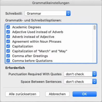 """Wählen Sie unter """"Grammatikprüfung"""" die Kategorien von Problemen aus, die Word überprüfen soll."""