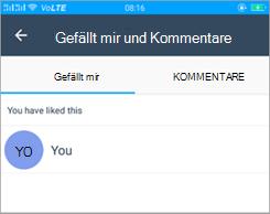 """Screenshot der Seite """"gefällt mir"""" und """"Kommentare"""" in Kaizala"""