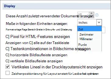 Screenshot zeigt die Option Vertikales Lineal im Seitenlayout anzeigen und die Optionen für Einheiten Maßeinheit z. B. Zoll oder Zentimeter anzeigen ausgewählt