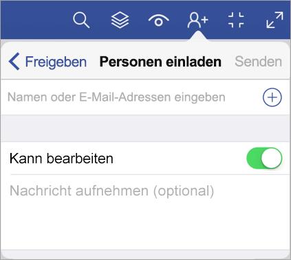 Geben Sie Namen oder E-Mail-Adressen ein, und laden Sie andere Personen zum Anzeigen Ihres Diagramms in Visio Viewer für iPad ein.