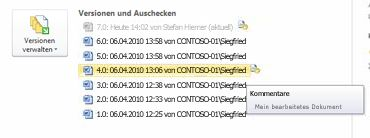 Versionsverlauf in der Backstage-Ansicht einer Microsoft Word-Datei. Version4 ist ausgewählt