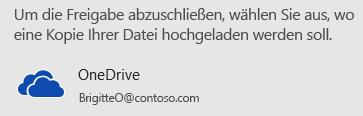 Wenn Sie Ihre Präsentation nicht auf OneDrive oder in SharePoint gespeichert haben, werden Sie von PowerPoint dazu aufgefordert.