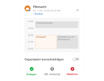 Besprechungseinladung mit Minikalender oben, Kommentarbereich in der Mitte und Antwortschaltflächen unten