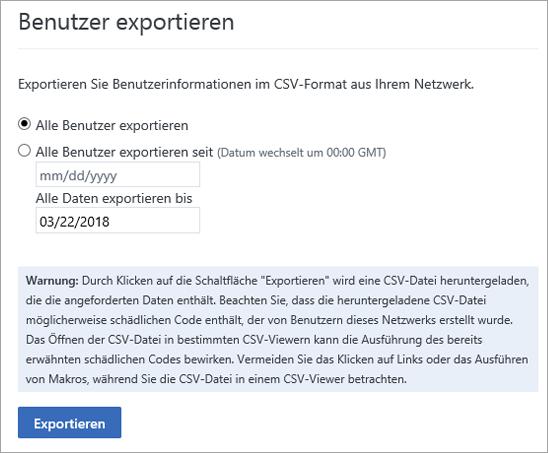 """Optionen im Yammer-Menü """"Benutzer exportieren"""" – """"Alle Benutzer exportieren"""" oder """"Alle Benutzer ab [Datum] exportieren"""""""
