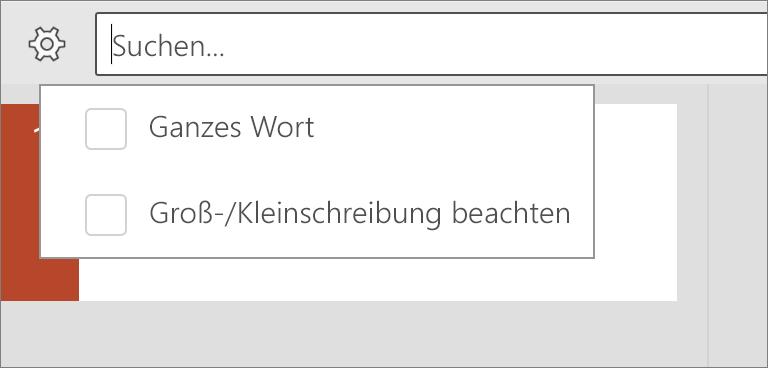 """Zeigt die Optionen """"Groß-/Kleinschreibung beachten"""" und """"Ganzes Wort"""" in PowerPoint für Android."""