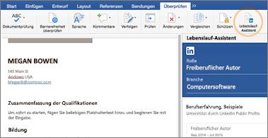 """Lebenslauf auf der linken Bildschirmseite und Bereich """"Lebenslauf-Assistent"""" auf der rechten Seite"""