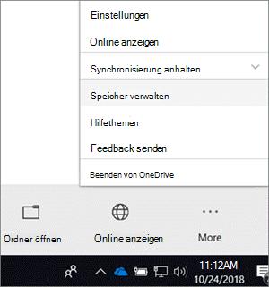 """Screenshot des Menüs für den neuen OneDrive for Business-Synchronisierungsclient, wobei im Menü der Befehl """"Speicher verwalten"""" ausgewählt ist"""
