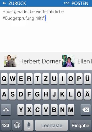 Screenshot des Hinzufügens einer Erwähnung (@) zu einem Beitrag in der SharePoint Newsfeed-App