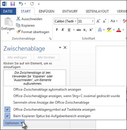 Möglichkeiten für den Aufgabenbereich der Office-Zwischenablage