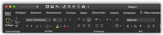 Abbildung des Excel-Menübands im dunklen Modus