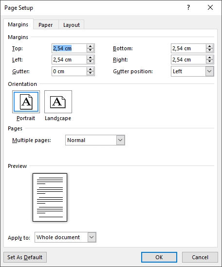 Festlegen von benutzerdefinierten Seitenrändern auf der Registerkarte Seitenränder von Seite einrichten